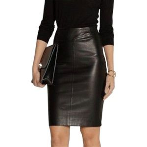 VTG Black Leather Pencil Skirt High Waist Zip Back